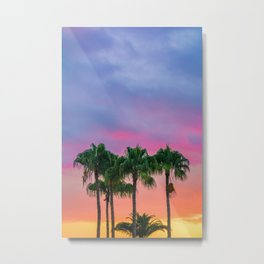 Tropical Palm Trees under the Sunset Metal Print