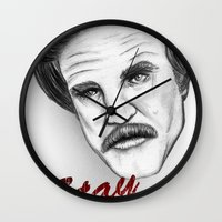 """anchorman Wall Clocks featuring """"Stay classy"""" Ron Burgundy - Anchorman by Tom Brodie-Browne"""