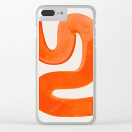 Mid Century Modern Abstract Minimalist Abstract Vintage Retro Orange Watercolor Brush Strokes Clear iPhone Case