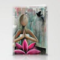 namaste Stationery Cards featuring Namaste  by hippocrocaduck