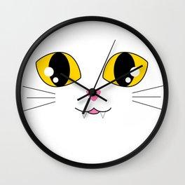 Kawaii Kitty Face Wall Clock