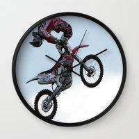 motorbike Wall Clocks featuring Motorbike-stunt-rider by store2u