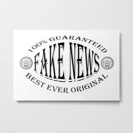 Fake News badge (black on white) Metal Print