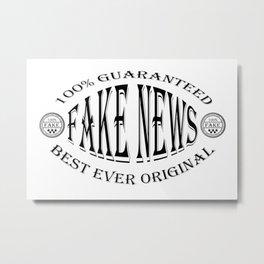 Fake News badge (black on white) Metal Print