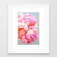peonies Framed Art Prints featuring Peonies Forever by Ez Pudewa