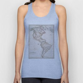 Vintage Map of North and South America (1843) Unisex Tank Top
