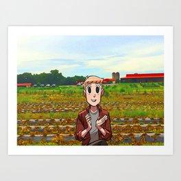 Bittle on the farm Art Print