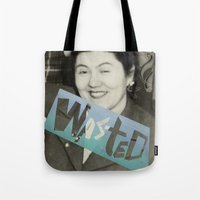 wasted rita Tote Bags featuring WASTED by Elizabeth Bello