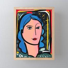 Fauve Girl Portrait with blue hair Framed Mini Art Print