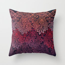lace garland on black Throw Pillow