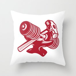 Dumbbell Anvil and Sledgehammer Retro Throw Pillow