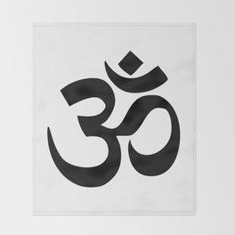 Minimal Black & White Om Symbol Throw Blanket