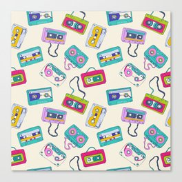 Vintage Cassette Tape Pattern Canvas Print