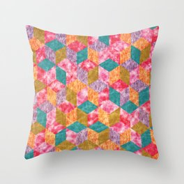 Colorful Isometric Cubes IX Throw Pillow