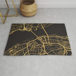 LIVERPOOL ENGLAND GOLD ON BLACK CITY MAP Rug