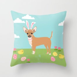 Chihuahua dog breed easter bunny dog costume pet portrait spring chihuahuas Throw Pillow