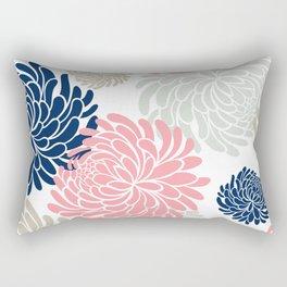 Floral Pattern Chrysanthemum, Blush Pink, Navy Blue Rectangular Pillow