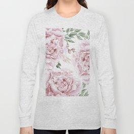 Pretty Pink Roses Floral Garden Long Sleeve T-shirt