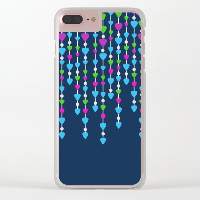 Pearl beads and hearts .  3 Clear iPhone Case