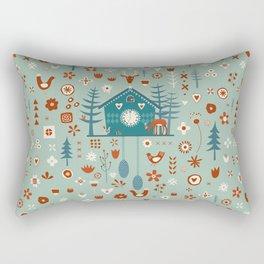 Cuckoo Clock Scandinavian Woodland Forest Rectangular Pillow