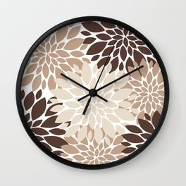 Floral Rosettes in Dark and Light Brown and Beige Wall Clock