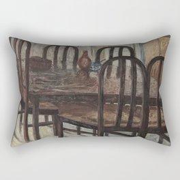 Still Life - Brown Dining Table in Morning Light - Oil on Canvas Rectangular Pillow