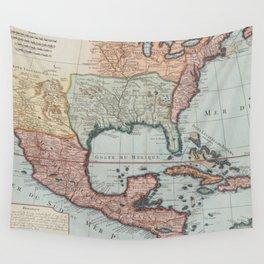 Vintage Map of The Gulf of Mexico (1732) Wall Tapestry