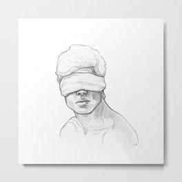 Guy blindfolded Metal Print