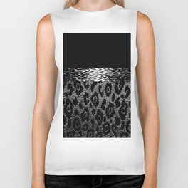 ANIMAL PRINT CHEETAH LEOPARD BLACK WHITE AND SILVERY GRAY Biker Tank