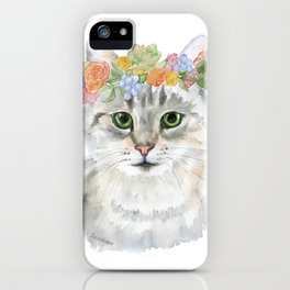 Gray Tabby Cat Floral Wreath Watercolor iPhone Case