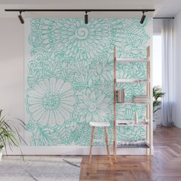 Artistic teal white hand painted floral pattern Wall Mural