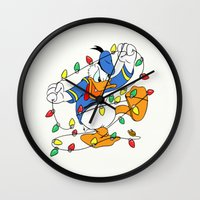 donald duck Wall Clocks featuring Funny Angry Donald Duck by Yuliya L