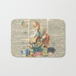 Vintage Alice In Wonderland on a Dictionary Page Bath Mat