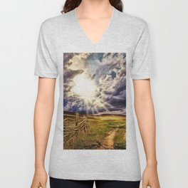 'May the Road Rise Up to Met You' Landscape Painting by Jeanpaul Ferro Unisex V-Neck