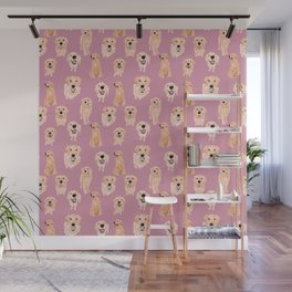 Golden Retrievers on Pink Wall Mural