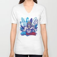 surfboard V-neck T-shirts featuring poseidon surfer on surfboard background by Doomko