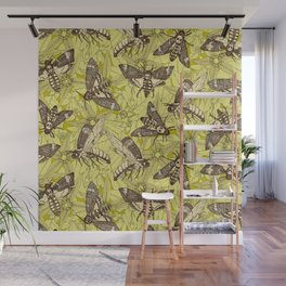 Death's-head hawkmoth chartreuse Wall Mural