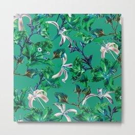 Tropical Bramble Green Metal Print