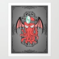 zoidberg Art Prints featuring The Call Of Zoidbergthulhu by Omega Man 5000