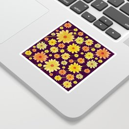 Yellow dots, Yellow Flower, Floral Pattern, Yellow Blossom Sticker