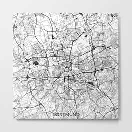 Dortmund Map Gray Metal Print