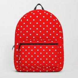 Mini White Polkadots on Australian Flag Red Backpack