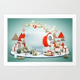 Xmas Reindeer Art Print