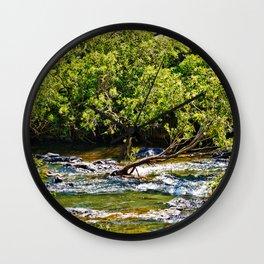 Beautiful river running over rocks Wall Clock