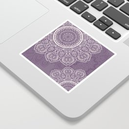 Mandala Tulips in Lavender ad Cream Sticker
