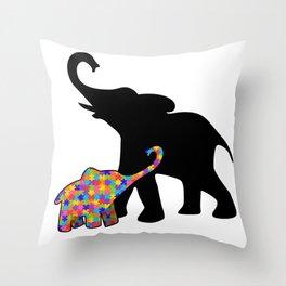 Elephant Autism Awareness Support Throw Pillow