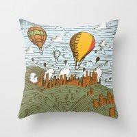 balloons Throw Pillows featuring BALLOONS by Matthew Taylor Wilson