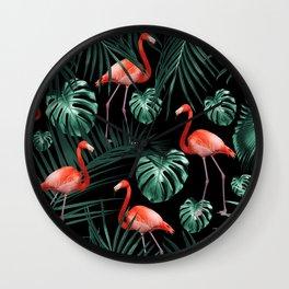 Tropical Flamingo Night Pattern #1 #tropical #decor #art #society6 Wall Clock