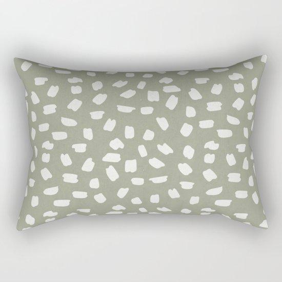 Simply Ink Splotch Lunar Gray on Green Tea Rectangular Pillow
