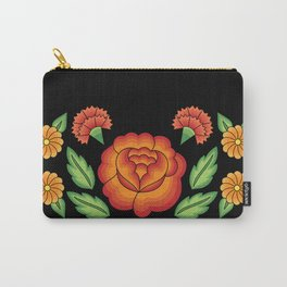 Mexican Folk Pattern – Tehuantepec Huipil flower embroidery Carry-All Pouch